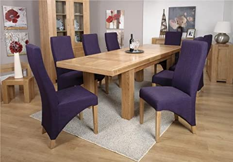 Monaco chunky solid oak furniture large dining table eight baxter chairs