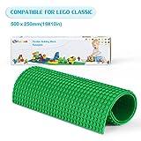 Plaque de Base, Fansteck jex de construction en Petit Point pour Base de Bloc de Construction en Silicone Réutilisable Flexible coupe facile compatible avec LEGO, Douple Mega Bloks et etc - Grand Vert