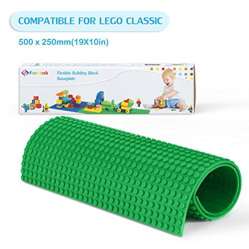 Fansteck Bauplatte für Classic Lego, Selbstklebende Große Bauplatte, Sillikon Grundplatte für Classic Bausteine 25.6 x 50 cm, mit Allem Großen Marken Kompatibel, Grün - Lego Großen Grundplatten