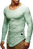 LEIF NELSON Herren Pullover Longsleeve Hoodie Basic Sweatshirt Hoodie Hoody Sweater LN6358; Größe L, Mint