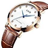 Best Mens Watches - CIVO Mens Watches Waterproof Brown Genuine Leather B Review
