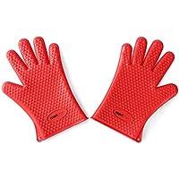 Mari Chef–par de rojo guantes de horno de silicona resistente al calor barbacoa guantes de manopla