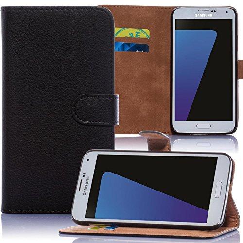 Book-Style Handy Tasche für Samsung Galaxy A7 SM-A700F aus PU Leder mit Kartenfächer und Aufstellfunktion - Schutz Hülle im Portemonnaie Design Wallet Etui Cover Farbe: Schwarz