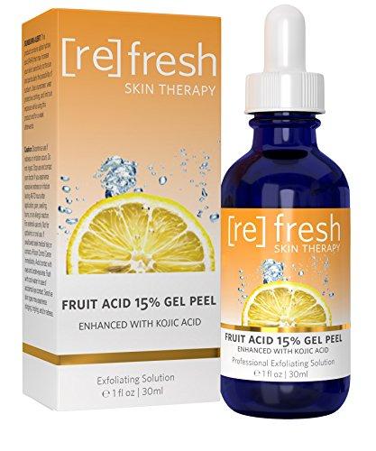 Peeling Gel d'acide de Fruits 15% (Lactique, Glycolique, Pyruvique) Améliorée avec L'acide Kojique - Peeling Chimique Professionnel