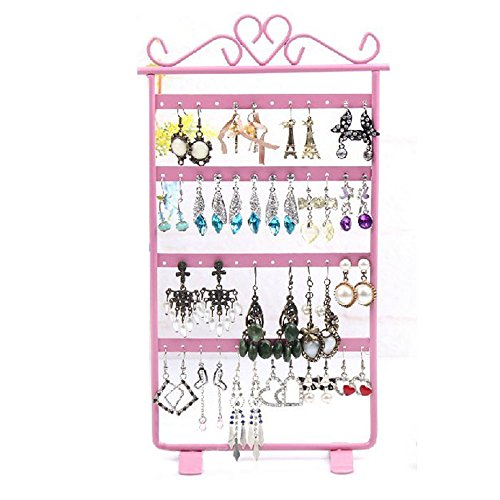 Sannysis 48-Loch-Ohrring Display Rack Metall Stand Inhaber Showcase (rosa) (Metall-lippenstift-rack)