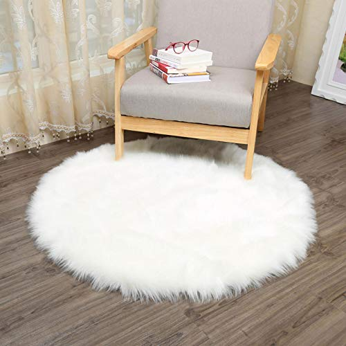 AJON- Teppiche Faux Sheepskin Weiche Flauschig Haarig Großen Teppich Deckel Rutschfeste Matten Für Stuhl Bett Sofa-Boden Mit Extra Langer Wolle (Weiß) - Perfekte Stuhl Square Stuhl