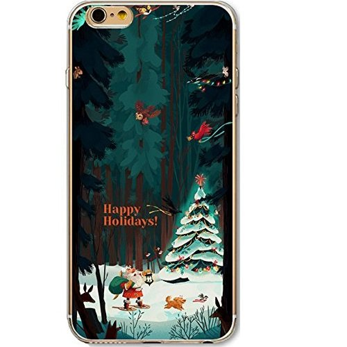 iPhone 7 Cover Xmas,iPhone 7 Custodia Silicone,TPU Gel Protettivo Shell Case Cover per 4.7 Apple iPhone 7/iPhone 8 Merry Christmas Natale Slim Sottile Crystal Clear Silicone Morbido Gel Anti-graffio  Xmas 18