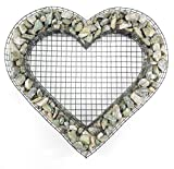 Gartenwelt Riegelsberger Herz Gitter mit Kleinen Basalt Steinen für Allerheiligen Grabschmuck Grabgestaltung Grabdeko Pflanzschale