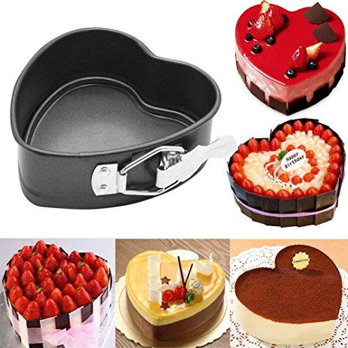Heart-Shaped Kuchen-Zinn-Non Stick-Frühlings-Form Loose Base Back Pan Tray 4-Zoll-herzförmigen Live-Ende Schnalle Antihaft-Kuchen Schimmel HKFV -
