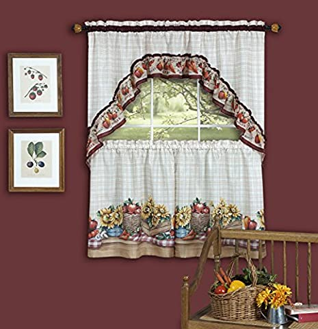 Farmer'S Market Tiers & Swag Kitchen Curtain Set - 57x36 & 57x30