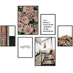 Heimlich® Premium Poster Set   Stilvolles Set mit passenden Bilder als Wohnzimmer Deko   2 x DIN A3 & 4 x DIN A4 - ca. 30x40 & 20x30   Auch mit Bilderrahmen » FLORAL Simplicity «