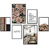 Heimlich® Premium Poster Set | Stilvolles Set mit passenden Bilder als Wohnzimmer Deko | 2 x DIN A3 & 4 x DIN A4 - ca. 30x40 & 20x30 | ohne Bilderrahmen » Floral Simplicity «