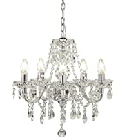 Tuscany 5 Light Ceiling Chandelier Acrylic Droplets Clear