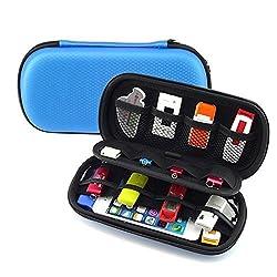 HESPLUS Multifunction Big Capability USB Flash Hard Drives Case Bag for For U Disk USB Drive SD Memory Card with Credit Card Slot Holder (blue)