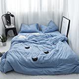 Japanisch-minimalistisch Tianzhu nackt Baumwolle Baumwolle 4 Baumwolle Stickerei Stickerei Betten 1.8m Cartoon, Bettlaken, Cat-blaue Katze, 1,2 m (4 Fuß) Bett