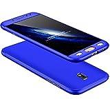 Coque Samsung J7 2017/Pro 360 Degrés Protection Matte Ultra Slim Cover PC Hard Case Protection du Corps Couverture antidéflagrante 360 ° Couverture Complète 3 en 1.Bleu