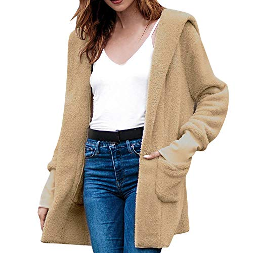 TWBB Damen Mantel Winter Einfarbig Faux Fur Kunstfell Outwear Elegant Warm Jacke Strickjacke Coat