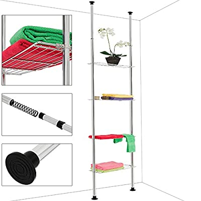 Telescopic Shelf with 4 or 3 Tiers - Storage Shelving Unit Robust Solid Telescopic Bathroom Kitchen Rack - inexpensive UK light shop.