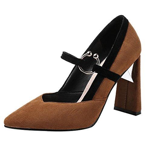 UH Damen Mary Jane Pumps Blockabsatz High Heels Spitz Mode Schuhe