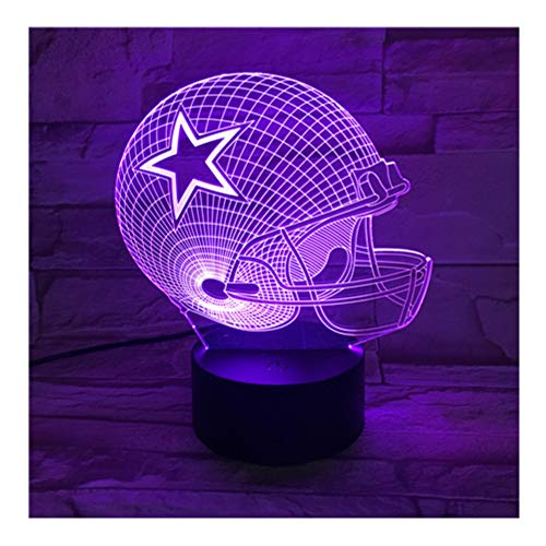 Crjzty Dallas Cowboys Helm Lamparas 3D Led Lampe 7 Farben Ändern Acryl Usb Led Tischleuchte Kinder Geschenk Kreative Nachtlampe Gx451 (Helme Cowboy Dallas)