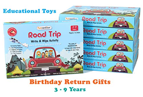 Funvention Educational Game Road Trip: Write and Wipe Activity Sheets (Pack of 6) - Observational Educational Game: Birthday Return Gifts