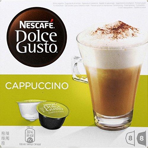 Dolce Gusto - Dosettes de café moulu et de lait entier, Cappuccino - Les 16 dosettes, 200g - Prix Unitaire - Livraison Gratuit Sous 3 Jours