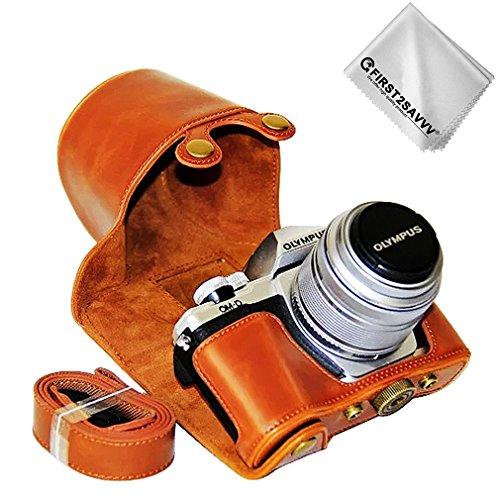 First2savvv Braun Premium Qualität Ganzkörper- Präzise Passform PU-Leder Kameratasche Fall Tasche Cover für Olympus OM-D E-M10 Mark III (14-42mm II R Lens) - XJD-EM10 III-C09G11 -