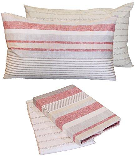 Bettlaken INFINITY rot Single (über 160x 280+ Unter 90x 200+ 2Kissenbezug 50x 80) Zucchi