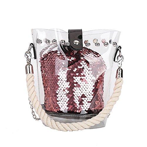 Piebo Neue Handtasche Damen Umhängetasche Schultertasche Transparente Strand Elegant Tasche Mädchen Frauen Mode 2018 Transparente Kulturtasche Schminktasche 2 in 1 (Schwarz)
