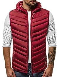 a9e516d5780459 OZONEE Herren Weste Modern Täglichen Zip Steppweste Kapuze Vest Ärmellos  Jacke Sportswear…