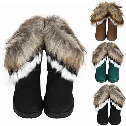 Kolylong 2016 Hiver Bottes de neige Dans le tube Imitation fourrure de renard Bottes de coton Femme