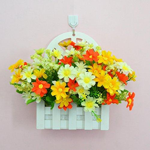ALLDOLWEGE Personnalisé simple émulation menuiserie plastique en pot en pot pot de fleurs d'émulation de dans le mur lumière jardin exquis decorationThatWhite Kit Orange +Hook