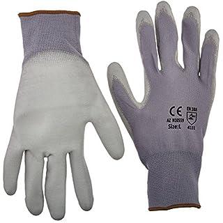 Azusa Safety 12 pairs, Polyurethane Coated Work Glove- Gray 13 Gauge Nylon, Gray Polyurethane Palm, Large by Azusa Safety