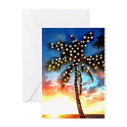 CafePress-Xmas Lights Palm Tree Sunset Stempel Grußkarten-Grußkarte ER (10), Note Karte mit Innen blanko,, Geburtstagskarte Greeting Card