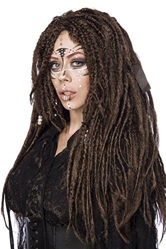 Braune Damen Langhaar Perücke Wig mit Dreadlocks Haar überlanger Pony Perücke Verkleidung eingeflochtene Perlen
