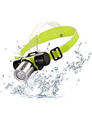 LEDGLE Linterna de cabeza LED submarina para buceo LEDGLE 900lm Foco linterna de cabeza resistente al agua, 3 modos de brillo, Base de la lámpara ajustable