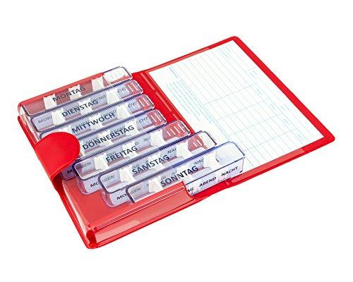 Medidos Pillen-Tablettenbox für 7 Tage | 7 einzelne Pillendosen für jeden Tag der Woche | Wochendosierer mit roter Schutz-Hülle