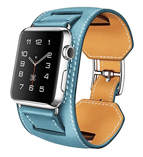 SUNDAREE®apple iwatch correas , Premium Leather Apple Watch Band Reemplazo 42mm Con Cuero Acolchado y Red Deporte Costura Diseño y Banda Ancha Con Cierre Integrado Metal Para Apple Watch 42mm (Azul-42mm)