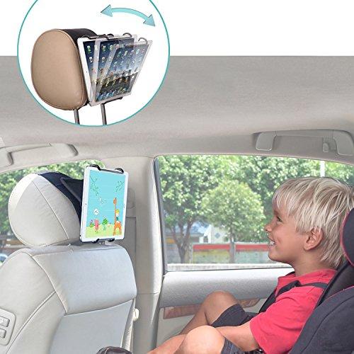 TFY Universal Autokopfstützen Halterung mit Verstellbaren Winkel-Halteklemmen für Tablets - iPad 2 / 3 / 4 - iPad Mini - iPad Air - iPad Pro - Samsung Galaxy Tab S2 - Tab A , Schwarz
