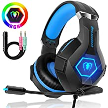 Beexcellent Cuffie Gaming per PS4 Xbox One, Multi-Platform Riduzione del Rumore Cuffie con Microfono Confortevole Stereo Bassi Profondi 3,5 mm LED per PC, Laptop, Mac, Smart Phone, PS3