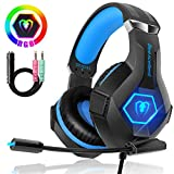 Beexcellent Gaming Headset für PC PS4 Xbox One, 7 Farbe RGB-LED Licht, Surround Sound Gaming...