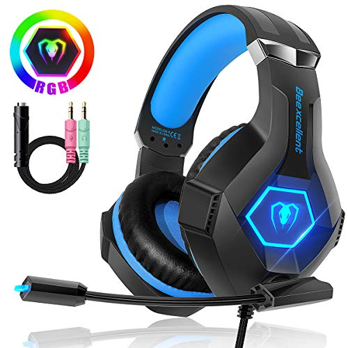 Beexcellent Casque Gaming pour PS4 Xbox one, Casque Gaming Professionnel LED RVB 7 Couleurs 280g Audio Stéréo Basse Anti-Bruit Micro, Compatible PC Laptop Tablette Smartphone Version Améliorée