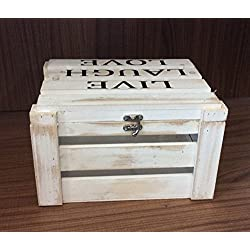 Caja madera tamaño 26x22x17cm tapa blanco LIVE LAUGH LOVE