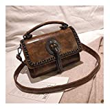 XUZISHAN Meine Damen Tasche Mit Fransen Quadrat Handtasche Leder Messenger Bag Retro Fashion Einfachheit Kette Crossbody Umhängetasche, Braun