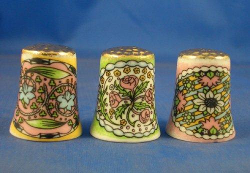 Porcelana China colección de dedales de oro de estilo Art Nouveau de