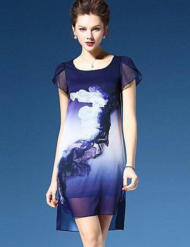 PU&PU Robe Aux femmes Mousseline de Soie Simple,Imprimé Col Arrondi Asymétrique Polyester BLUE-2XL
