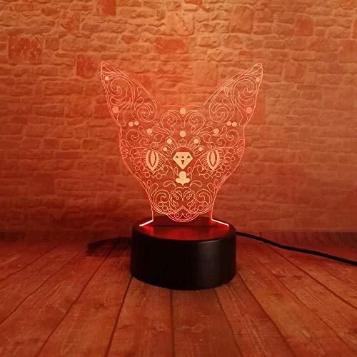 3D Vision Kätzchen Kopf Hirsch Led 7 Farben Ändern Tabby Katze Schreibtisch Illusion Lampe Rakete Schlafzimmer Home Party Deco Geschenk Nachtlicht -