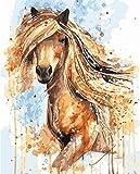 Suubboo Frameless DIY Ölgemälde Durch Zahlen Malen Nach Zahlen Für Wohnkultur Ölbild Malerei Gelbes Pferd 40X50Cm