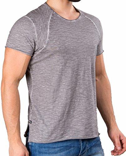 Redbridge Herren T-Shirt kurzarm Flamed Frame Vintage Used-Look Baumwolle Darkgrey - Grau