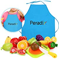 Peradix Giocattolo Frutta e Verdura da Tagliare Plastica con Velcro - Giocattolo Educativo Prima Infanzia -Buono Regalo per Bambini 3+ Anni(con grembiule)